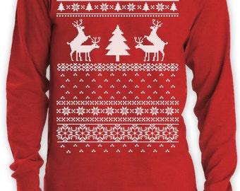 Ugly Christmas Sweater Humping Reindeer Crew Neck Sweatshirt