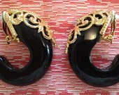 stunning black crescent moon clip on hoops with exquisite gold detail work