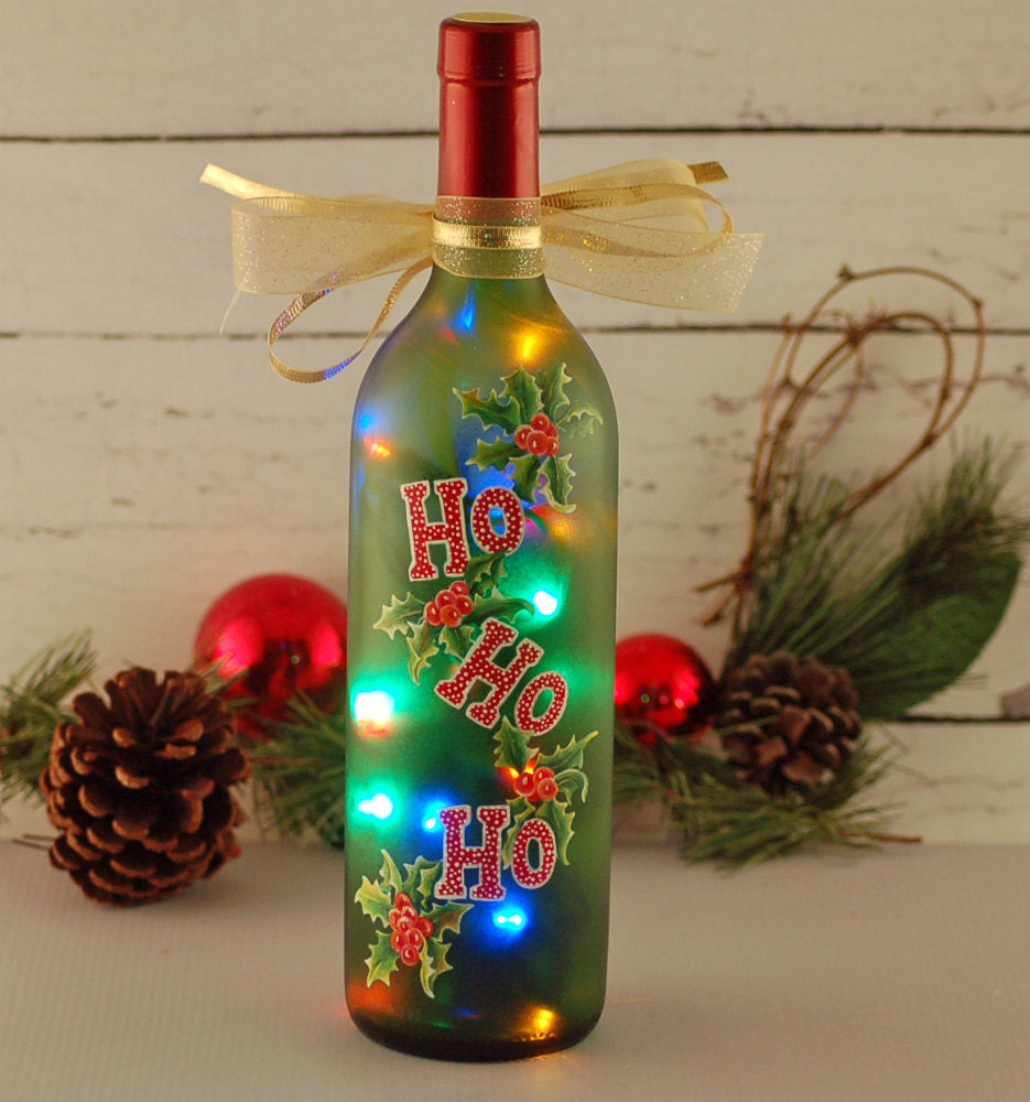 Ho Ho Ho Wine Bottle Light Hand Painted Red And Green