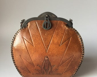 Vintage 1920s Arts & Crafts Tooled Leather