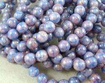 Czech Beads, 6mm Druk, Czech Glass Beads - Purple and Blue Marble (D6/N-048c) - 6mm - Qty 25