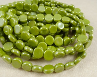 Czech Beads, Czech Glass Beads - Chartreuse Luster, Lime Green - Coin Bead (COIN/RJ-0669) - 8mmx2mm - Qty. 12