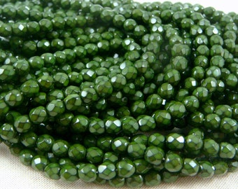 Czech Beads, 4mm Czech Glass Fire Polished Beads, 4mm Faceted Round Beads - Dark Olive Green Serpentine (FP4/RJ-1843) - Qty 50