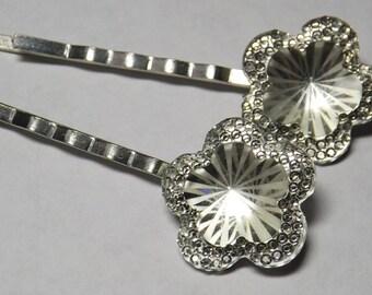 glass flower hair pins, flower bobby pins, hair jewelry, hair accessory, wedding hair, prom hair, bridesmaid accessory