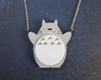 Totoro Inspired Smiling Forrest Troll Cat Pendant Necklace