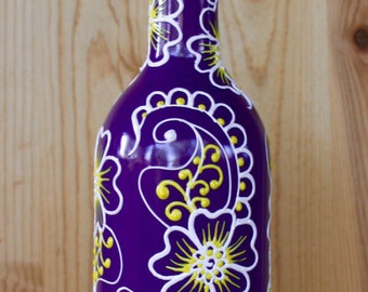 Wine bottle Olive Oil Dispenser with Henna inspired design, Purple with Sunny Yellow and White accents