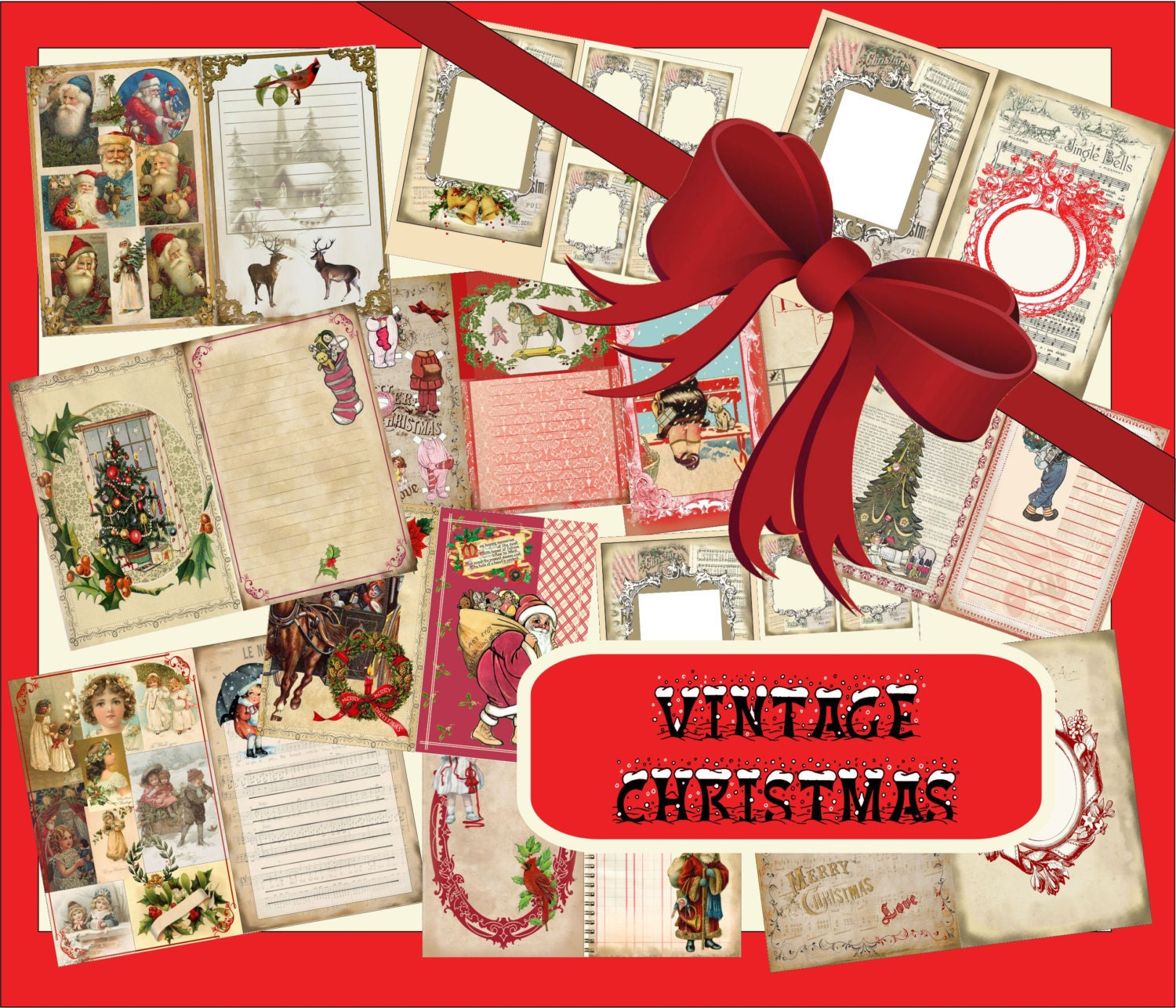 Digital Printable Vintage Christmas Journal Kit 8.5 X 11