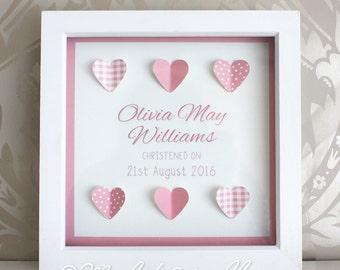 Personalised Christening Gift - Baby Girl - Framed Hearts