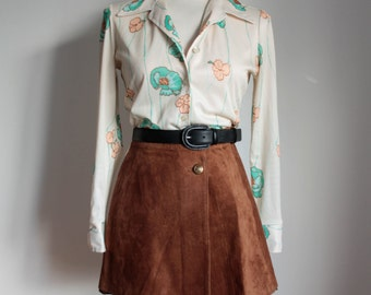 70s Boho Blouse / Vintage Flower Print Blouse / 70s Women's Shirt