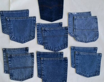 Recycled Blue Denim Jean Pockets for Crafting - Clean Denim Pocket Supply - Salvaged from Blue Jeans - 6 Sets and a Spare - 13 Pockets Total