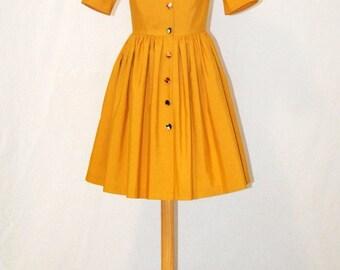 SALES Mustard Dress / Made In Spain Dress / Midi Dress / Size 8/10