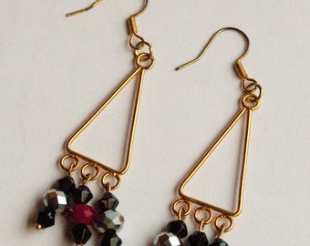 beaded earrings black red silver gold