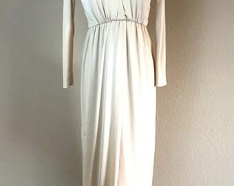 Vintage 1960's 70's designer Roger Milot for Fred Perlberg beige jersey dress S