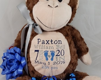 Monkey baby gift etsy personalized baby gift personalized stuffed animal baby feet monkey cubbie with birth announcement negle Images