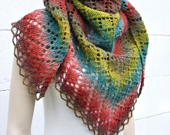 Knit shawl, multicolored wool shawl, gradient color shawl, women's triangle scarf, wrap, handmade, green red brown turquoise, gift for Her