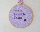 Smile Sparkle Shine Hoop Art. Motivational Gift. Embroidery. 5 inch Hoop Art. Cross stitch Quote. Inspirational Quote.  Home Décor.