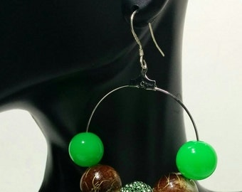 Earth Tone Hoops Green & Brown Ear Hoops Dangling Beaded Jewelry Celebrity Style Accessories  .925 sterling silver Hoops