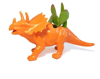 Up-cycled Orange Triceratops Planter