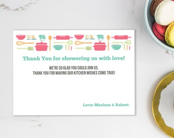 Editable Thank You Insert Cards, INSTANT DOWNLOAD, Stock The Kitchen, Bridal Thank You, Personalized Thank You, Couples Shower Thanks, #20