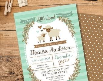 Lamb Baby Shower Invitation, Gender Neutral Baby Shower Invite, Storybook Baby Shower, Little Lamb Shower, Mint Baby Shower, #2403