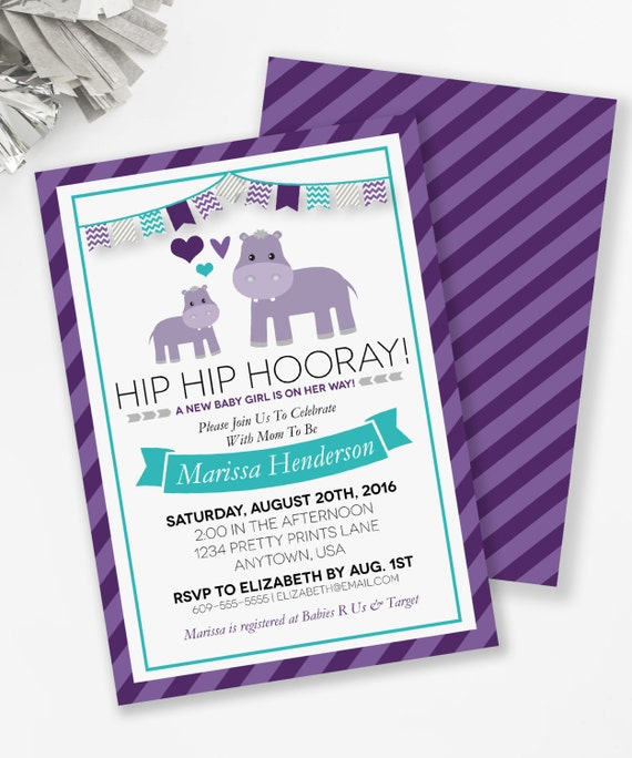 Hippo baby shower invitation hippo couples shower purple hippo il570xn filmwisefo Choice Image