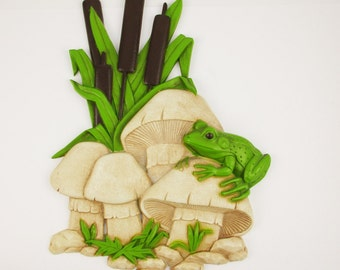 "Frog in Toad Stools and Cattails - Wall Art - A 'Burwood Products' Wall Plaque - Plastic Molded - 18 1/2"" Tall - Mid Century Decor - 1960s"