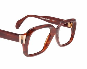 Metzler 1960s iconic Onassis style big thick squared dark havana cello eyeglasses hand made in Germany, 60s NOS frames