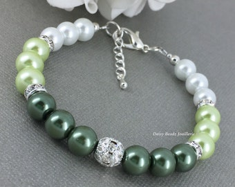 Shades of Green Ombre Bracelet, Bridesmaids Gifts, Green Pearl Bracelet,  Green Ombre Pearl Bracelet, Green Bridesmaid Bracelet