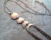 Phases of the Moon \\ hand forged copper with chain tassels \\ long necklace (3728)