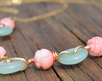 Pink Coral Roses and Green Jade Beads on 14K Gold Chain Necklace