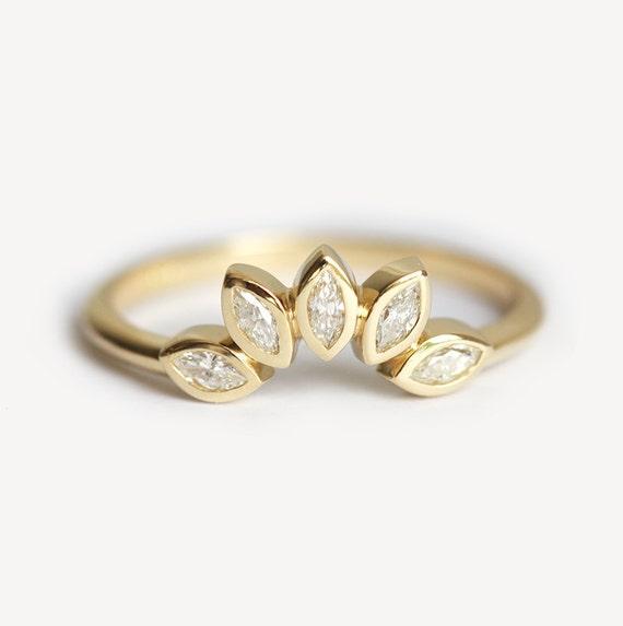 mini diamond crown ring mini diamond wedding band marquise diamond band stacking diamond - Marquise Diamond Wedding Ring