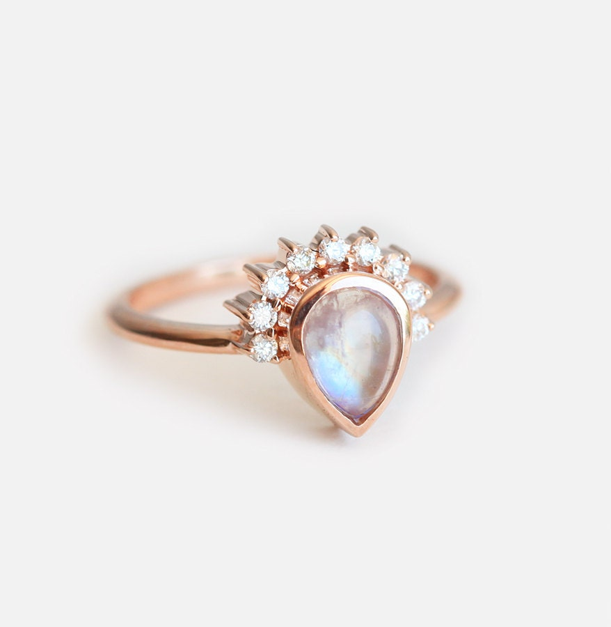 Moonstone Engagement Ring Gold Moonstone Ring Engagement