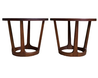 Pair Mid Century Round Walnut End Tables by Lane
