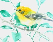 Yellow Songbird Warbler, 7 X 5 in original small watercolor painting