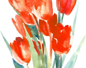Red Tulips original watercolor painting 10 X 16 in