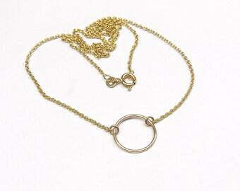 Dainty gold chain circle 333Gold