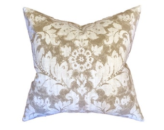 """Taupe, Tan and Cream Floral Damask Designer Pillow Cover- Accent Pillow- Throw Pillow- Neutral Pillow- Holds 22"""" Insert"""