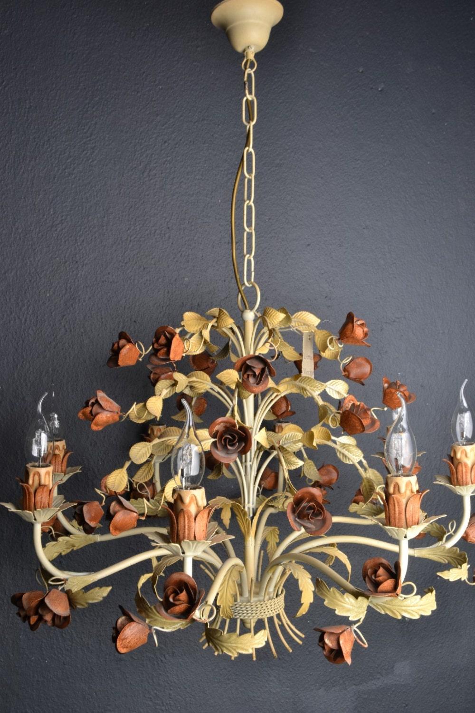 Italian Tole Chandelier With Roses 8 Light Bulbs