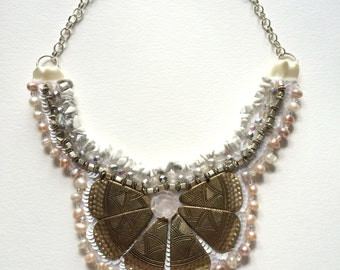 White and Bronze Freshwater Pearl Beaded Statement Necklace