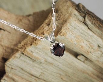 Sterling Silver Pendant/Necklace - Red Garnet Pendant/Necklace -  Solitaire Pendant/Necklace - Sterling Silver with a 6mm Red Garnet Heart