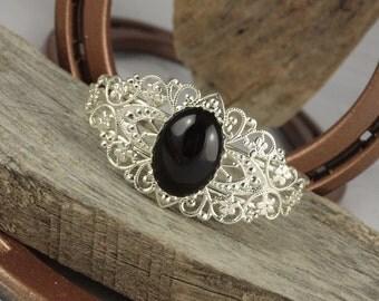 Natural Black Onyx Cuff Bracelet - Adjustable Boho Cuff Bracelet - Silver Tone Cuff Bracelet with a Natural Black Onyx Stone