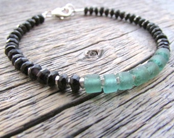 Roman Glass Bracelet, Black Onyx Bracelet, Glass Bead Bracelet, Boho Bracelet, Roman Glass Jewelry, Ancient Glass Bracelet, Beaded Bracelet