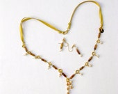 Lariat Style, Tiger Eye Necklace, Yellow Ribbon, Freshwater Pearl Charms,Pearl Drop Pendant, Trendy Design,Semi Precious Gems, Elegant Look