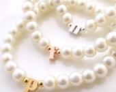 Children's pearl bracelet, flower girl bracelet, personalized flower girl gift, kids initial bracelet, baby child infant bracelet wedding