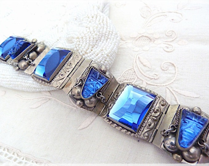 Alpaca BRACELET with AZTEC design BLUE cabochon