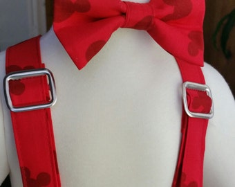 Mickey Mouse  Bow Tie & suspenders set