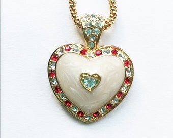 Jackie Kennedy 24K GP Heart Necklace - Enamel and Stones with Box and COA