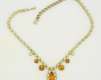 Gold rhinestone necklace, yellow orange rhinestones