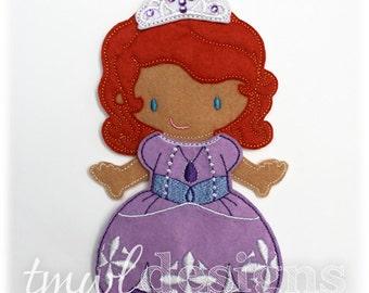 Princess Sophie Dress Felt Paper Doll Toy Outfit Digital Design File - 5x7
