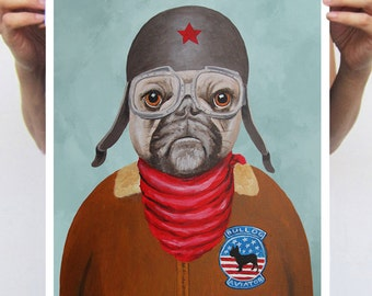 Pilot Bulldog: Art Print Poster A3 Illustration Giclee Print Wall art Wall Hanging Wall Decor Animal Painting Digital Art